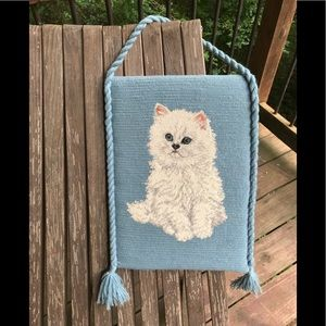 Other - Vtg kitschy Persian cat needlepoint wallhanging